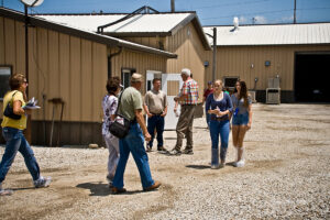tour group outside barn
