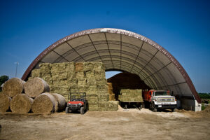 storing hay in covered shed
