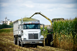 image of truck and tractor harvesting our corn